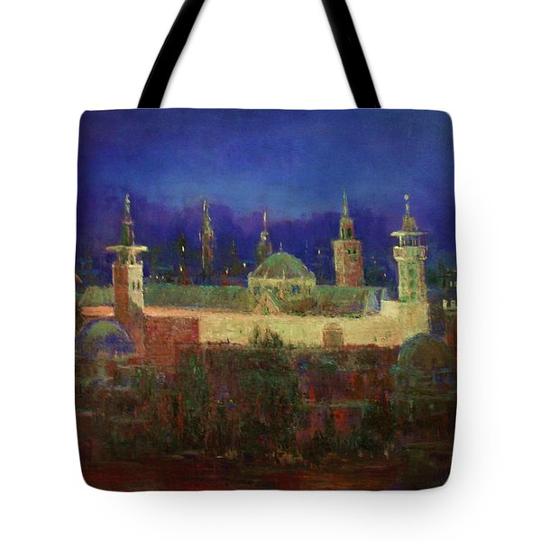 Tote Bag featuring the painting Almasjed Alamawe At Night - Damascus - Syria by Laila Awad Jamaleldin