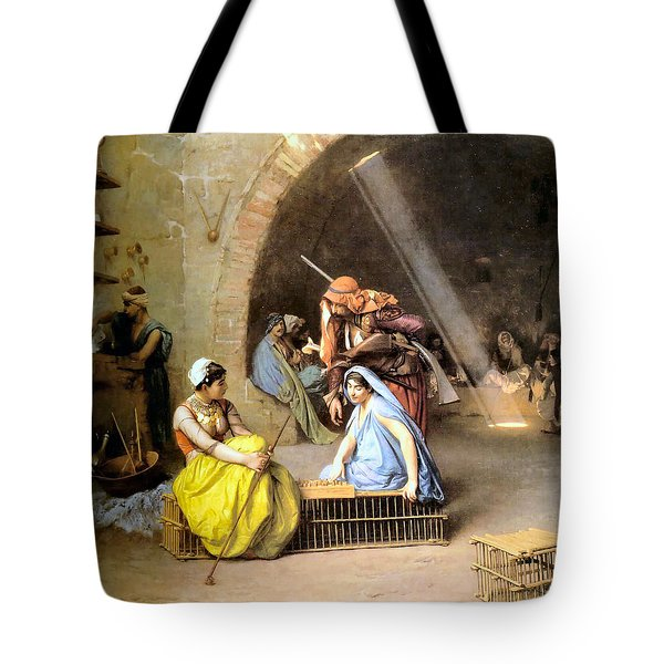 Almehs Playing Chess In  A Cafe Tote Bag by Jean Leon Gerome