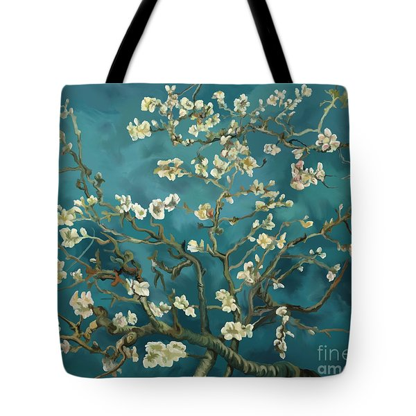 Tote Bag featuring the painting Almond Blossoms' Reproduction by Tim Gilliland