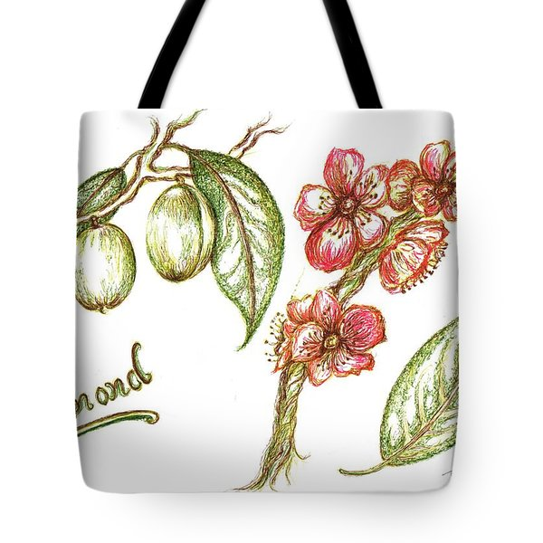 Almond With Flowers Tote Bag