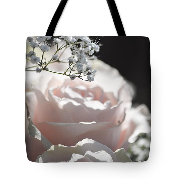 Almost White Roses Tote Bag