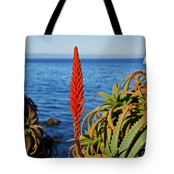 Aloe Arborescens Flowering At Pacific Grove Tote Bag