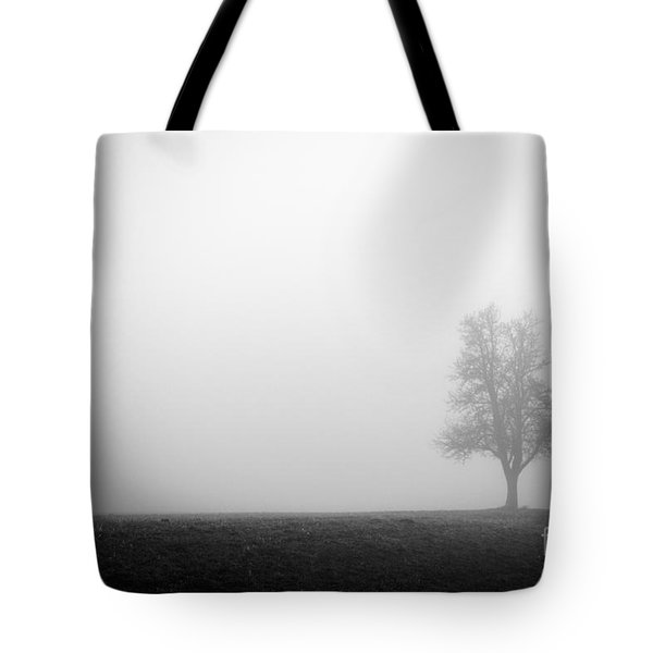 Alone In The Fog - Bw Tote Bag by Hannes Cmarits