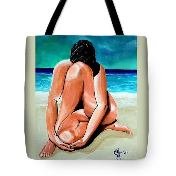 Tote Bag featuring the painting Alone With My Thoughts by Jackie Carpenter