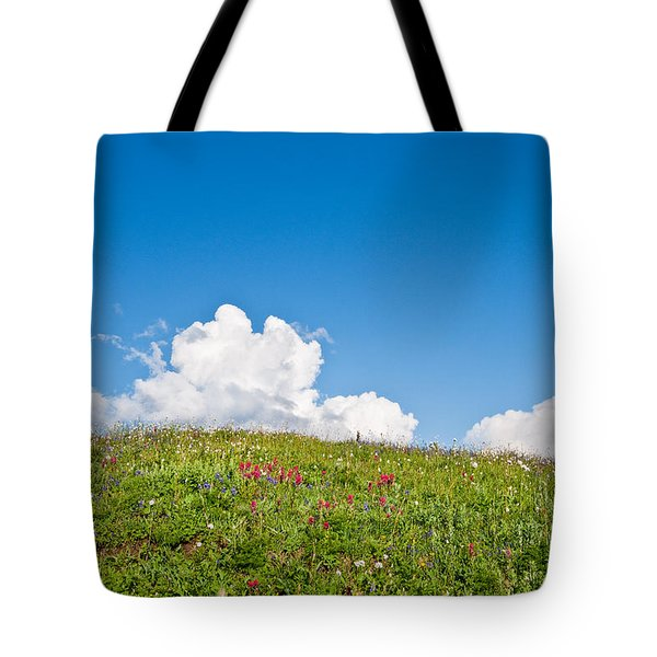 Alpine Meadow And Cloud Formation Tote Bag