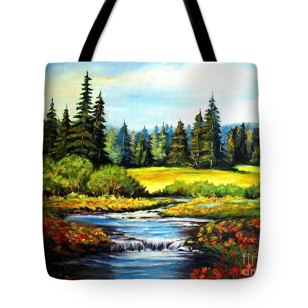 Tote Bag featuring the painting Alpine Meadow by Hazel Holland