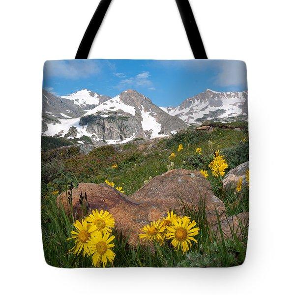 Alpine Sunflower Mountain Landscape Tote Bag