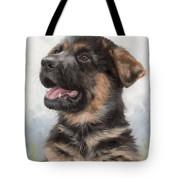 Alsatian Puppy Painting Tote Bag