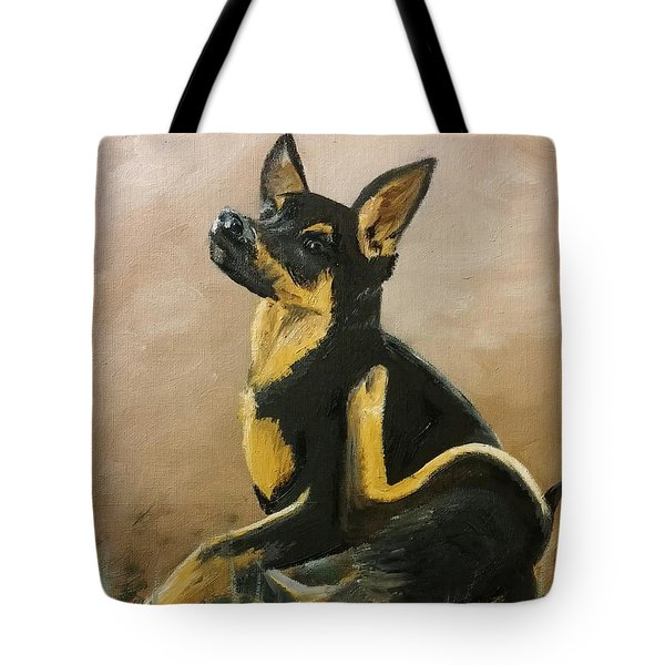 Alsatian Puppy Scratching Tote Bag