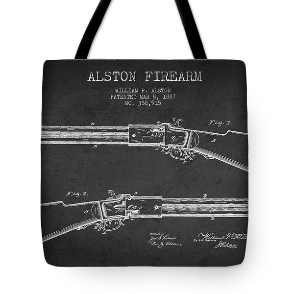 Alston Firearm Patent Drawing From 1887- Dark Tote Bag