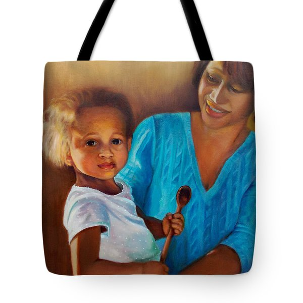 Tote Bag featuring the painting Always In Her Heart And In Her Hands by Marlene Book