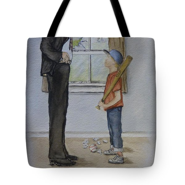 Tote Bag featuring the painting Am I In Trouble Dad... Broken Window by Kelly Mills