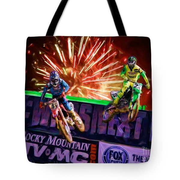 Ama 450sx Supercross Trey Canard Leads Chad Reed Tote Bag