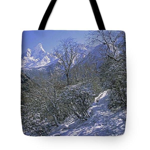 Tote Bag featuring the photograph Ama Dablam In Winter by Rudi Prott