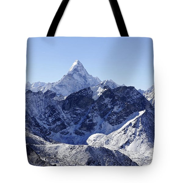 Ama Dablam Mountain Seen From The Summit Of Kala Pathar In The Everest Region Of Nepal Tote Bag by Robert Preston