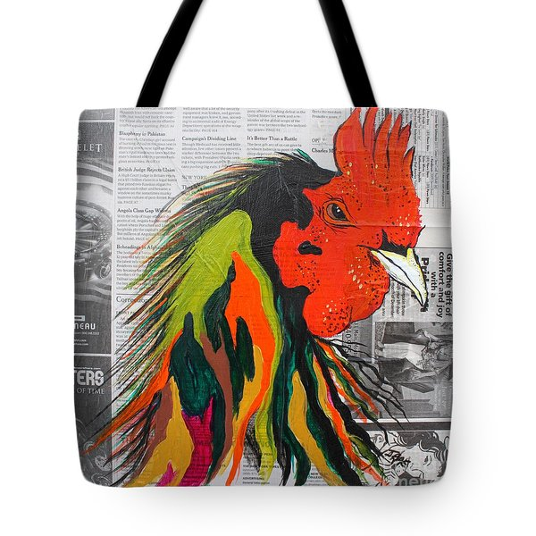 Tote Bag featuring the painting Amadeo The Tuscan Rooster by Janice Rae Pariza