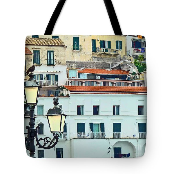 Tote Bag featuring the photograph Amalfi Birds And Lamps by Cheryl Del Toro