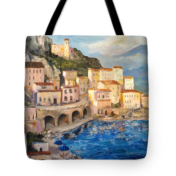 Tote Bag featuring the painting Amalfi Coast Highway by Alan Lakin