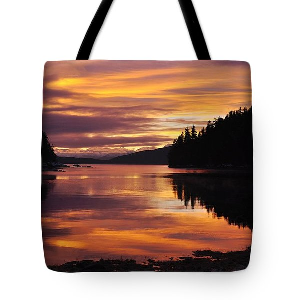 Amalga Harbor Sunset Tote Bag