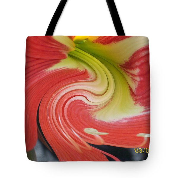 Tote Bag featuring the photograph Amarylis Twirl by Belinda Lee