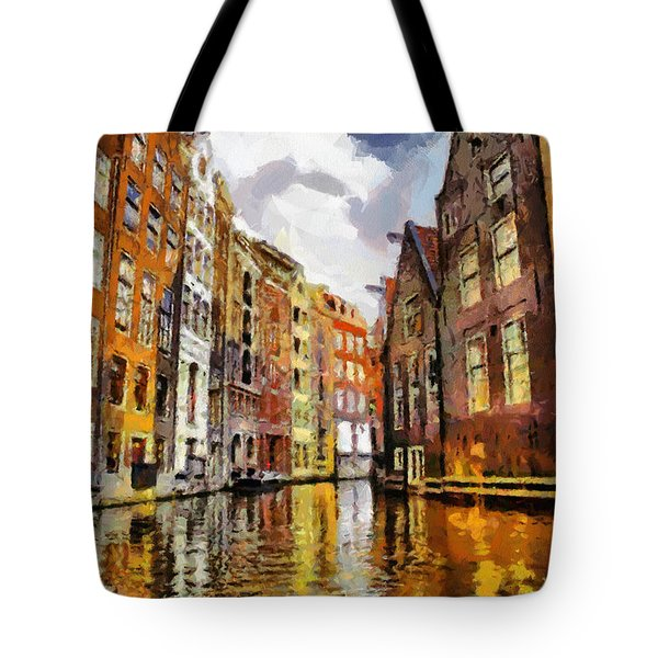 Amasterdam Houses In The Water Tote Bag by Georgi Dimitrov