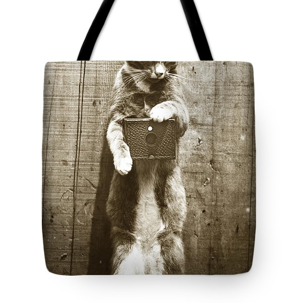 Tote Bag featuring the photograph Amateur Feline Fotografer Cat With A Box Camera  Historical Photo 1900 by California Views Mr Pat Hathaway Archives