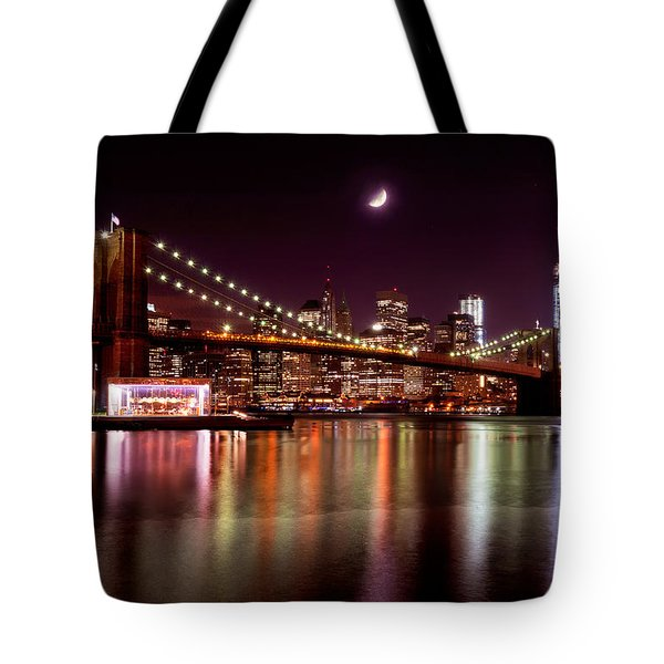 Amazing New York Skyline And Brooklyn Bridge With Moon Rising Tote Bag