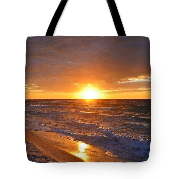 Tote Bag featuring the photograph Amazing Sunrise Colors And Waves On Navarre Beach by Jeff at JSJ Photography
