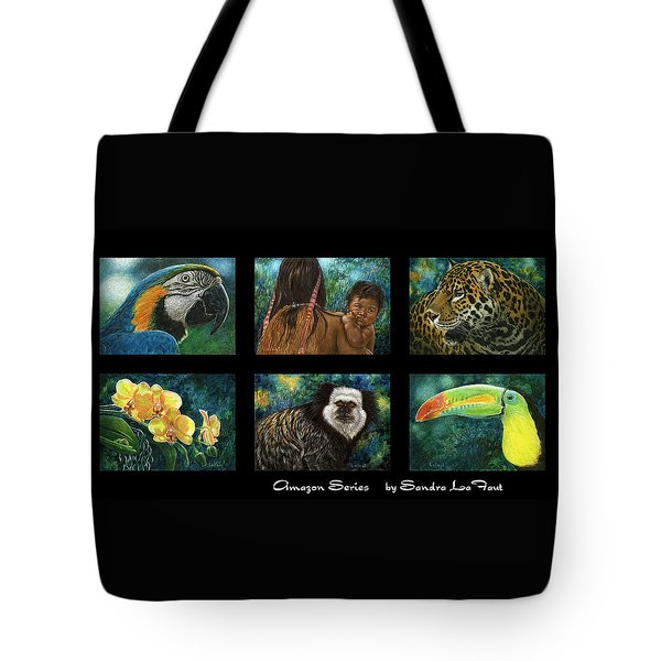 Tote Bag featuring the mixed media Amazon Series Collage by Sandra LaFaut