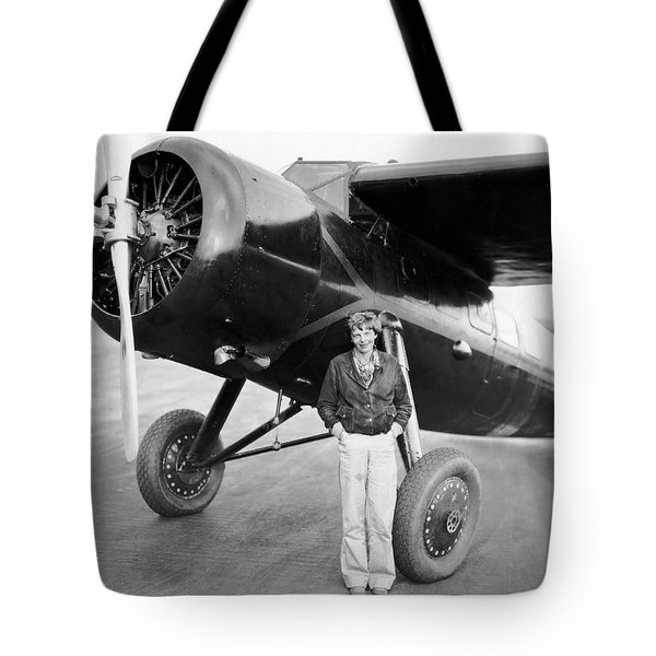 Amelia Earhart And Her Plane Tote Bag