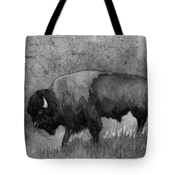 Monochrome American Buffalo 3  Tote Bag by Hailey E Herrera