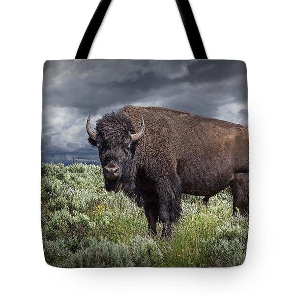 American Buffalo Or Bison In Yellowstone Tote Bag