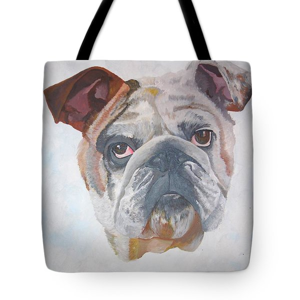 Tote Bag featuring the painting American Bulldog Pet Portrait by Tracey Harrington-Simpson