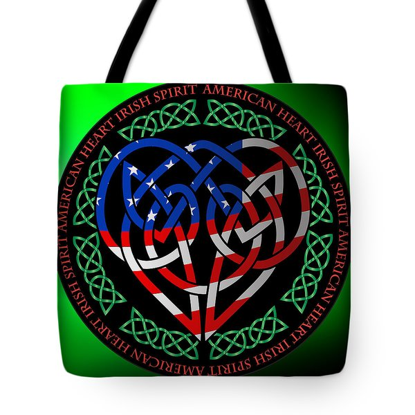 Tote Bag featuring the digital art American Celtic Heart by Ireland Calling