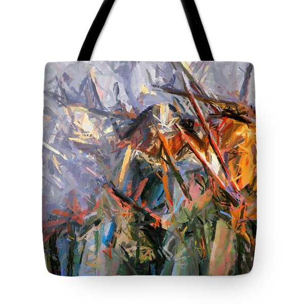 Tote Bag featuring the painting American Civil War - Abstract Expressionism by Isabella Howard