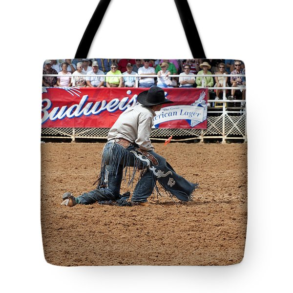 American Cowboy Thrown From A  Bucking Rodeo Bronc Tote Bag