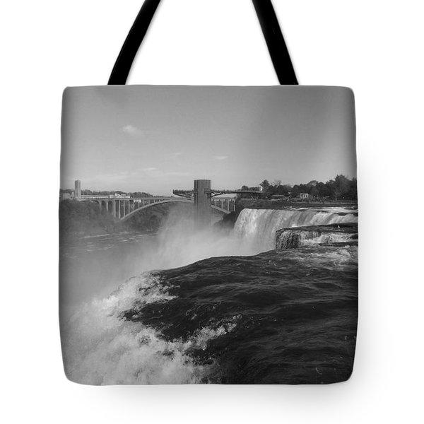 American Falls From Luna Island B N W Tote Bag