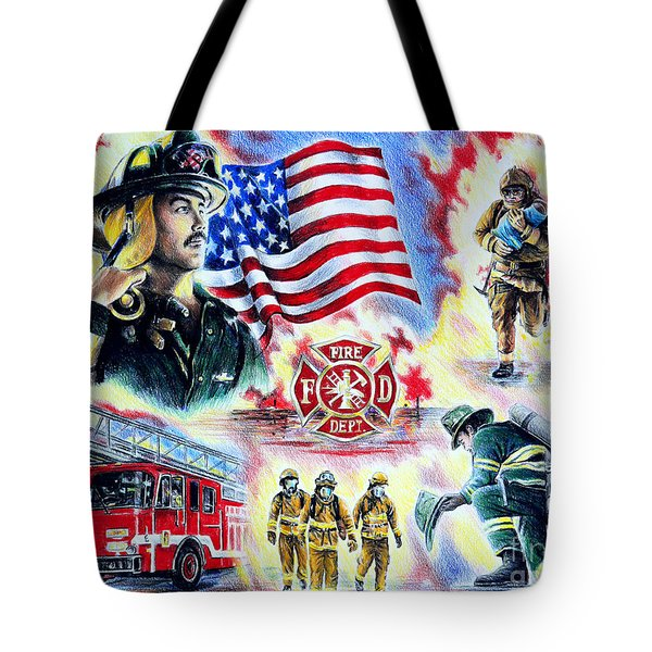 American Firefighters Tote Bag