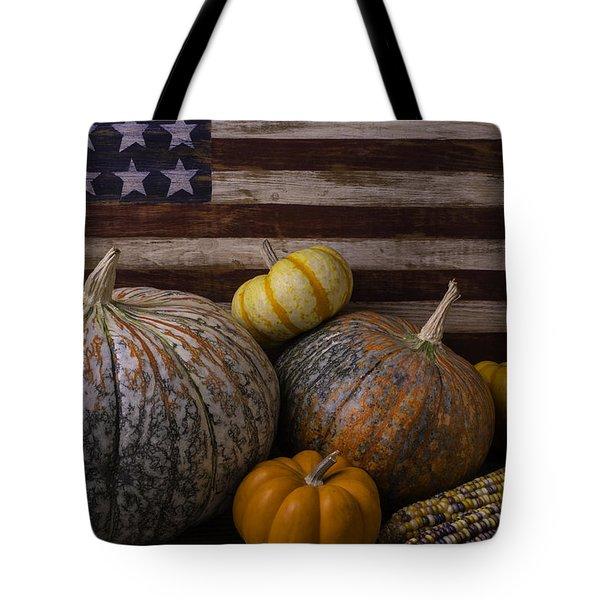American Flag Autumn Still Life Tote Bag