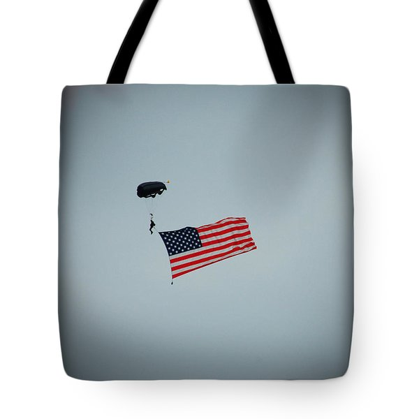 American Flag In The Sky Tote Bag by Aimee L Maher Photography and Art Visit ALMGallerydotcom