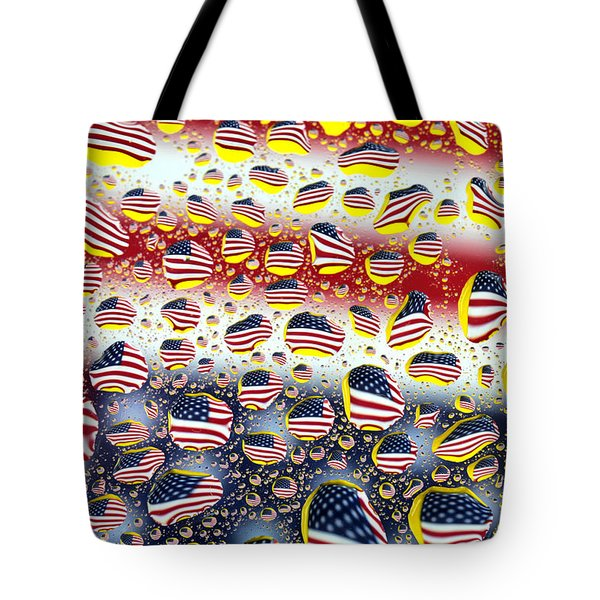 American Flag In Water Drops Tote Bag by Paul Ge