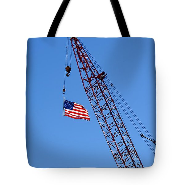American Flag On Construction Crane Tote Bag