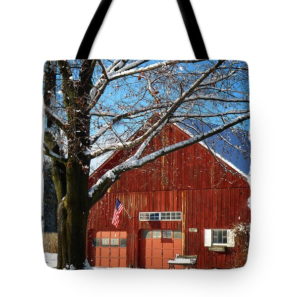 American Flag Red Barn Tote Bag