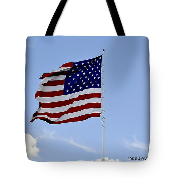 Tote Bag featuring the photograph American Flag by Verana Stark