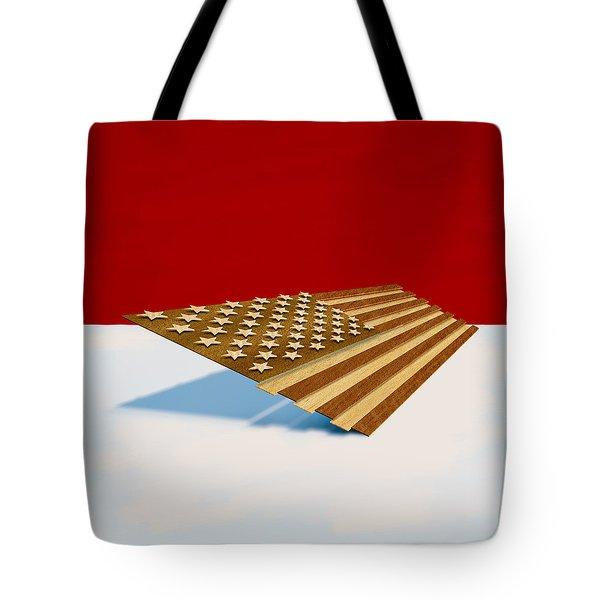 American Flag Wood Tote Bag
