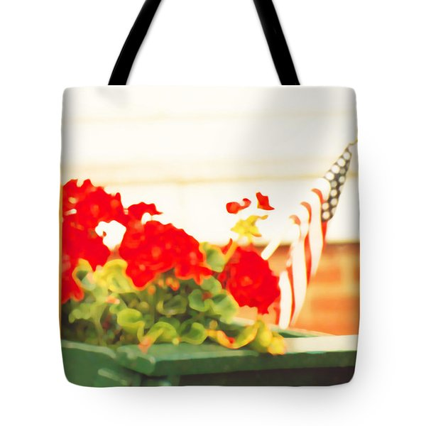 American Flags And Geraniums In A Wheelbarrow In Maine, One Tote Bag