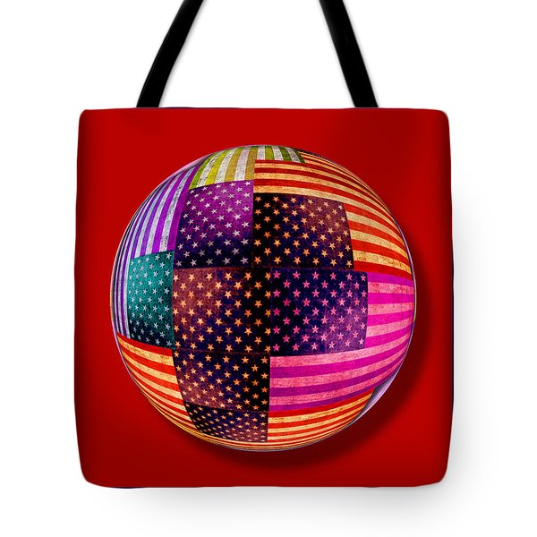 American Flags Orb Tote Bag by Tony Rubino