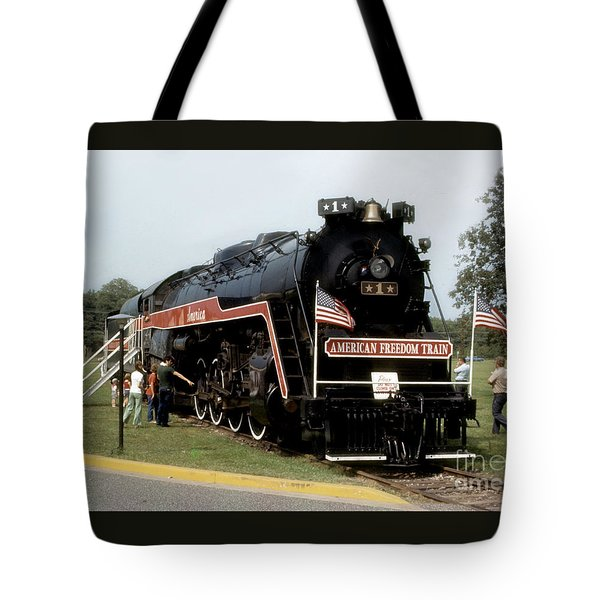 Tote Bag featuring the photograph American Freedom Train - 1975 by ELDavis Photography
