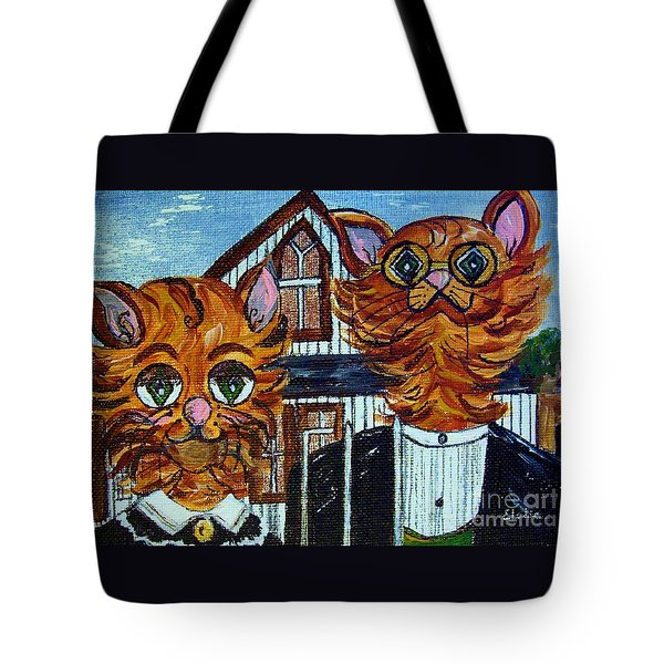 Tote Bag featuring the painting American Gothic Cats - A Parody by Eloise Schneider