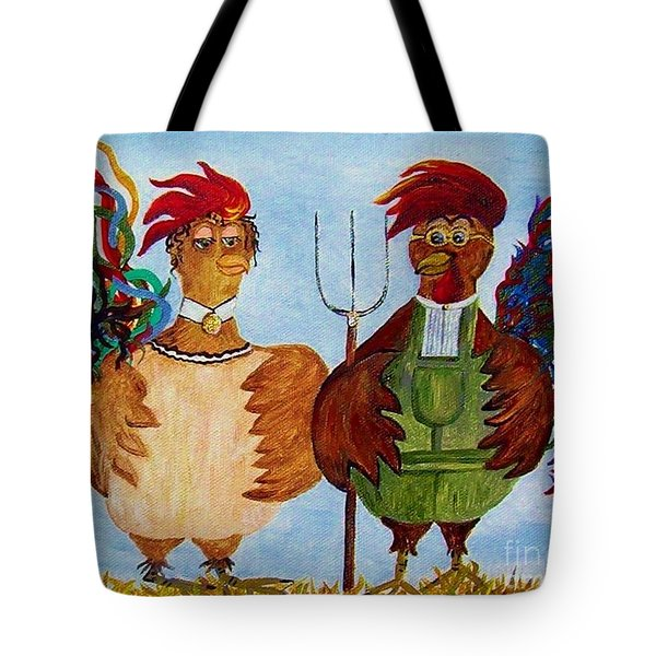 Tote Bag featuring the painting American Gothic Down On The Farm - A Parody by Eloise Schneider